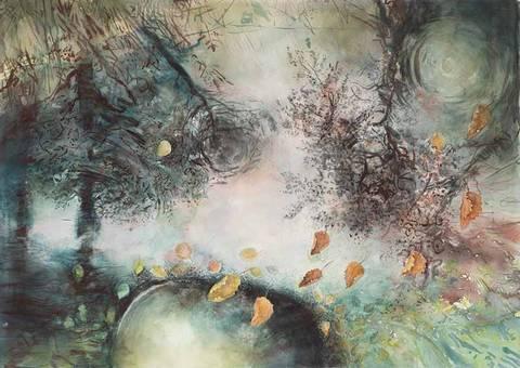 Bilde av Kommer fra skogen, akvarell av Mona Grønstad