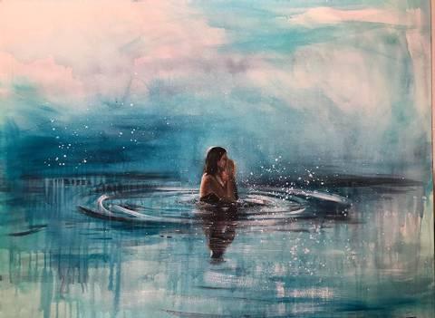 Bilde av Morgenbader maleri av Gro Mukta Holter