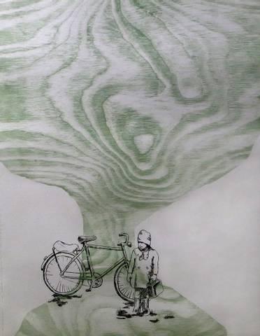 Bilde av Gammelt tre og en sykkel av Ida Løkken Anstensrud